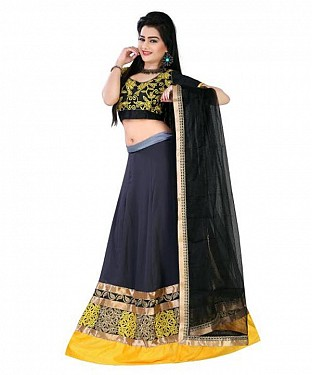 Black Satin Embroidered Unstiched Lehenga Choli And Dupatta set @ Rs1173.00