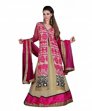 Multicolor Net Embroidered Unstiched Lehenga Choli And Dupatta set @ Rs3707.00