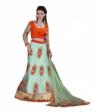 Multicolor Georgette Embroidered Unstiched Lehenga Choli And Dupatta set @ Rs3584.00