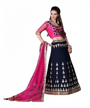 Multicolor Net Embroidered Unstiched Lehenga Choli And Dupatta set @ Rs3460.00