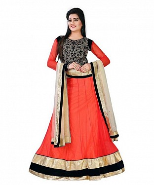 Orange Net Embroidered Unstiched Lehenga Choli And Dupatta set@ Rs.1050.00