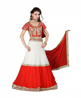 Multicolor  Georgette Embroidered Unstiched Lehenga Choli And Dupatta set @ Rs3707.00