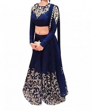 Blue Georgette Embroidered Unstiched Lehenga Choli And Dupatta set @ Rs1235.00