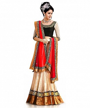 Beige Net Embroidered Unstiched Lehenga Choli And Dupatta set@ Rs.1235.00