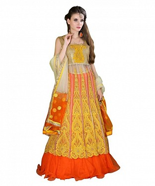 Multicolor Net Embroidered Unstiched Lehenga Choli And Dupatta set @ Rs3831.00