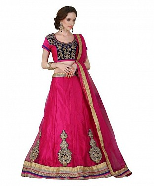 Multicolor Net Embroidered Unstiched Lehenga Choli And Dupatta set @ Rs2471.00