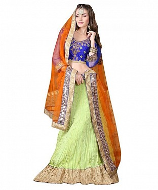 Multicolor CVT Crush Embroidered Unstiched Lehenga Choli And Dupatta set @ Rs2966.00