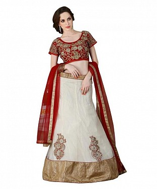Multicolor Net Embroidered Unstiched Lehenga Choli And Dupatta set @ Rs2348.00