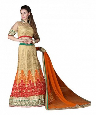 Multicolor Net Embroidered Unstiched Lehenga Choli And Dupatta set @ Rs4078.00