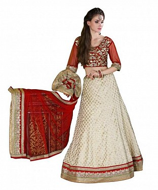 Multicolor Brocade Embroidered Unstiched Lehenga Choli And Dupatta set @ Rs3460.00