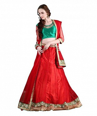 Multicolor Net Embroidered Unstiched Lehenga Choli And Dupatta set @ Rs2842.00