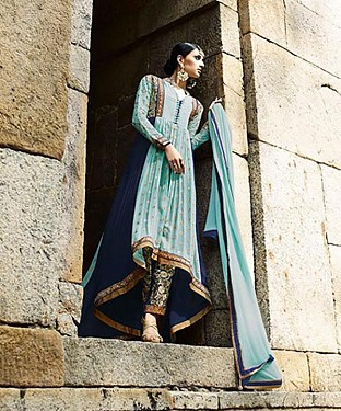New Attractive Sky Anarkali Suit @ Rs3027.00