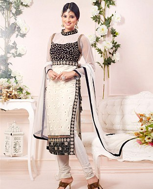 sayali latest white & black Straightfit salwar suit @ Rs2100.00