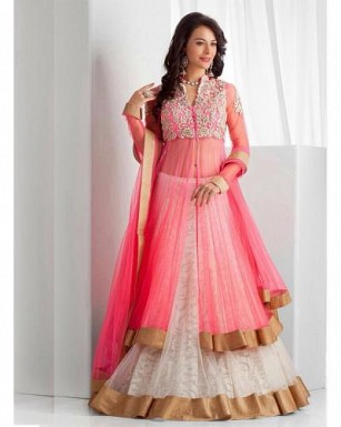 Lady Fashion Villa pink designer salwar suit @ Rs1175.00
