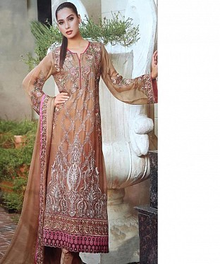 BROWN GEORGETTE STRAIGHT SUIT @ Rs2100.00