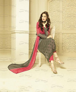 GREY AND PINK CHIFFON STRAIGHT SUIT @ Rs1606.00