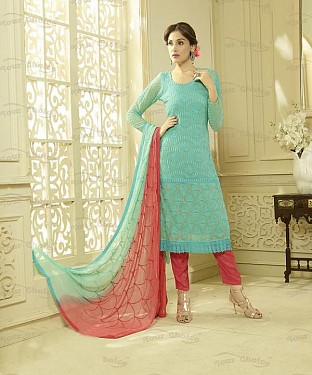 SKY AND PEACH CHIFFON STRAIGHT SUIT @ Rs1606.00