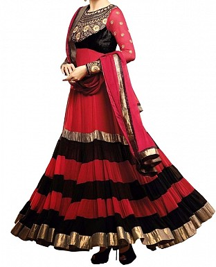 new arrival red &black embroidared anarkali suit @ Rs1297.00