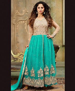 New Attractive Aqua Anarkali Suit @ Rs2100.00