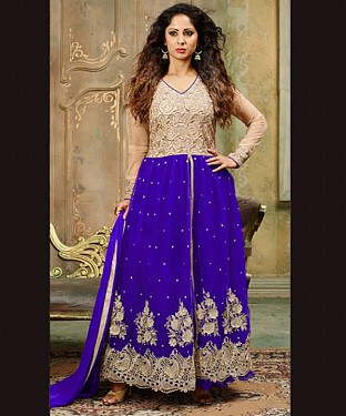 New Attractive Blue Anarkali Suit @ Rs2100.00