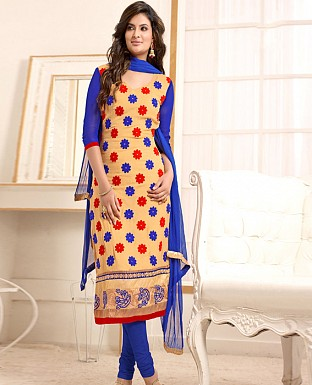 Fancy Cream &blue Embroidred Salwar Suit @ Rs1050.00