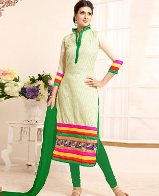 Fancy offwhite green salwar suit @ Rs1050.00