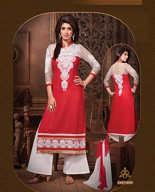 Embroidery Straight Cotton Suit With Dupatta @ Rs300.00