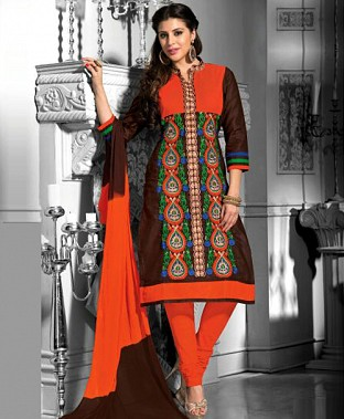 Embroidered  Designer Cotton Suit Buy Rs.400.00