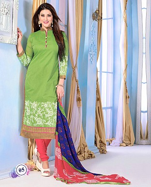 Chanderi Cotton Embroidered Salwar Suit @ Rs823.00