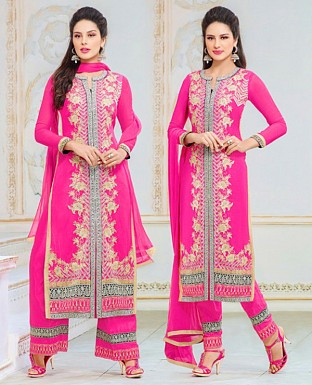 Faux Georgette Embroidered Semi Stitched Suit @ Rs1750.00