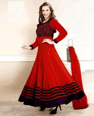 New Fancy Evelyn sharma Red Embroidered anarkali suit@ Rs.1020.00