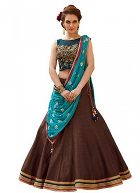 New Banglori Silk Blue And Brown Lehegha Choli@ Rs.1235.00
