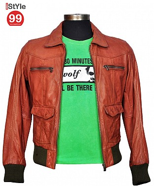 Men Leather Jacket Tan And Brown @ Rs6278.00