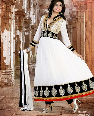 New fancy white Embroidered Anarkali Suit @ Rs1173.00