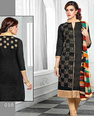 Designer Black Latest Cotton Salwar Suit Dress Material @ Rs680.00