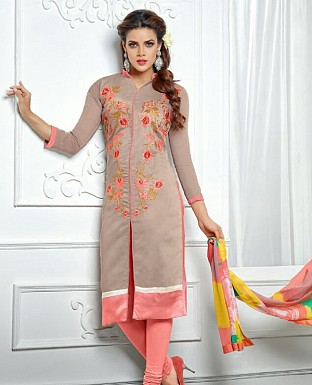 Designer Brown Latest Cotton Salwar Suit Dress Material S712 @ Rs680.00