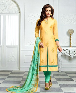 Designer Yellow Latest Cotton Salwar Suit Dress Material S713 @ Rs680.00