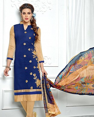 Designer Latest Blue Cotton Salwar Suit Dress Material S715 @ Rs680.00