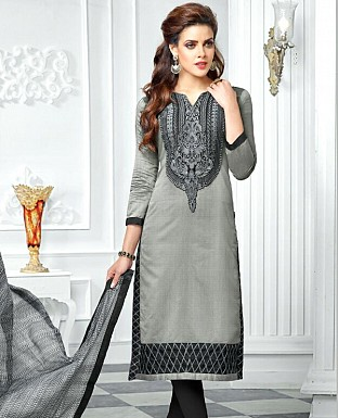 Designer Gray Latest Cotton Salwar Suit Dress Material S717 @ Rs680.00