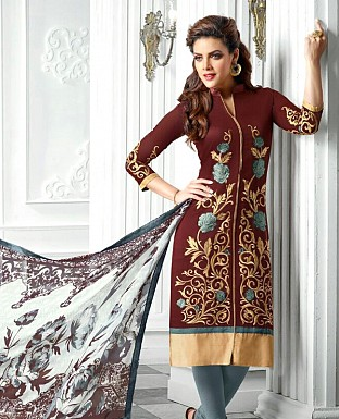 Designer Latest  Brown Cotton Salwar Suit Dress Material S718 @ Rs680.00