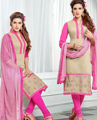 Designer Latest  Cream Color  Cotton Salwar Suit Dress Material S719 @ Rs680.00