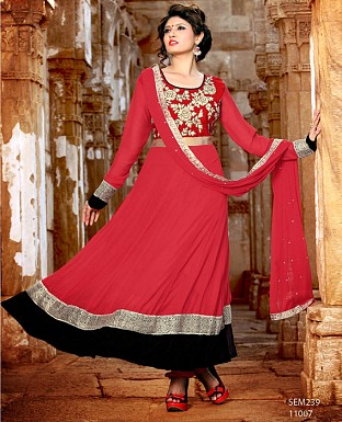 New Latest Fancy Red Embroidered Anarkali Suit @ Rs1173.00