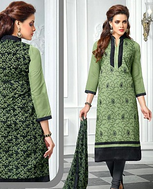 Designer Latest Green Cotton Salwar Suit Dress Material S720 @ Rs680.00