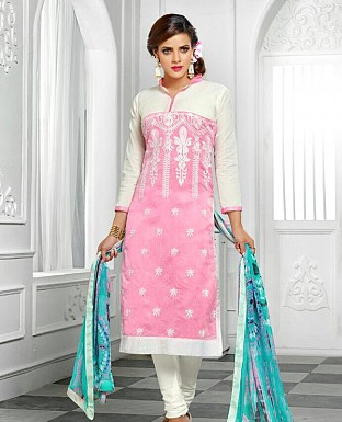 Designer Latest  Pink  Cotton Salwar Suit Dress Material S721 @ Rs680.00