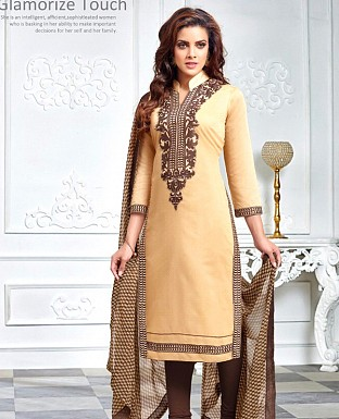 Designer Cream Latest Cotton Salwar Suit Dress Material S722 @ Rs680.00