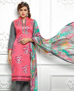 Designer Latest  Pink Color Cotton Salwar Suit Dress Material S723 @ Rs680.00