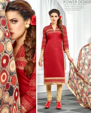 Designer Red Latest Cotton Salwar Suit Dress Material S724 @ Rs680.00