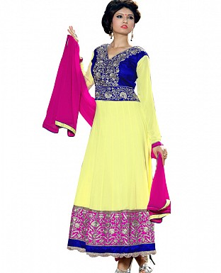 LateLatest Designer yellow blue Embroidered Anarkali suitst@ Rs.1169.00