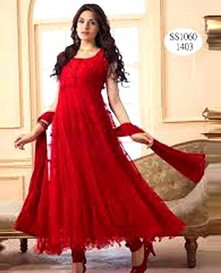 Beautiful Latest Hot Red Anarkali Suit @ Rs803.00