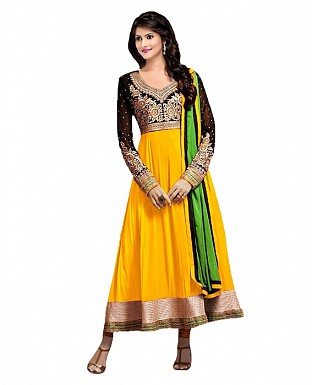 Yellow Color Georgette Designer Anarkali Suit @ Rs1421.00